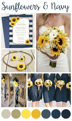 Sunflower & Navy Wedding - Want these sunflowers for less?  Visit Afloral.com for high-quality faux sunnflowers that will shock everyone when they find out they are silk - they look so real!  http://www.afloral.com/Silk-Wedding-Flowers/Sunflowers_4