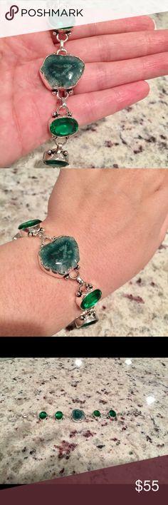 Solar Quartz bracelet Beautiful natural stones. Sterling silver. Jewelry Bracelets