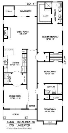 Craftsman Style House Plan - 3 Beds 2 Baths 1600 Sq/Ft Plan #424-197 Floor Plan - Main Floor Plan - Houseplans.com
