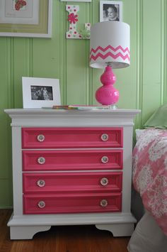 DIY~ Pink Painted Nightstand Redo... fun way to spice up an old dresser... a slate blue would be pretty in guest room