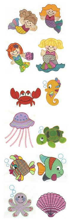 Embroidery | Free machine embroidery designs | Under the Sea filled