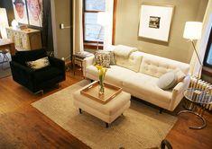 oak trim, beige walls, white furniture