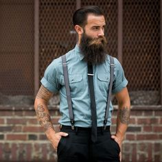 Montgomery Frank Mercado - full thick dark beard and huge mustache beards bearded bushy awesome  coloration man men beading mens style fashion clothing dapper suspenders suit tie tattoos tattooed handsome #sharpdressedman #beardsforever