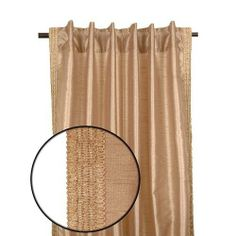 """RuLu 91009 Polysilk Drapery Panel, 52-Inch by 96-Inch, Beige by Rulu. Save 29 Off!. $24.96. Rod pocket option with coordinating side trim runs the length of each side. Hidden tabs create a perfect front pleat. Panel comes in matching fabric bag. Drapery panel 52"""" x 96"""" polysilk beige. It is so delicate will make ay room in your home gorgeous. Rod pocket curtain panels combine functionality with any window in your home."""