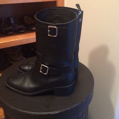Authentic channel boot Black mid calf leather Chanel boots purchased from Barneys Beverly Hills. Only worn once! CHANEL Shoes Combat & Moto Boots