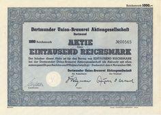 Dortmunder Union-Brauerei Aktie 1000 RM 1941