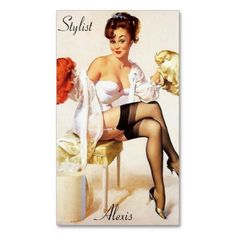 Pin up Stylist Profile Cards Business Card Templates Pin up girl business card featuring pretty brunette trying to decide between a red or blonde wig. Perfect business card for hair stylist and salons #stylist #salon #pin #up #girl #...