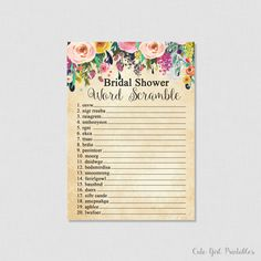 Floral Bridal Shower Word Scramble - Word Scramble Printable - Cream Printable - Bridal Shower Printable Games - Floral Word Scramble 0001C