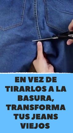 Discover thousands of images about En vez de tirarlos a la basura, transforma tus jeans viejos Sewing Pants, Sewing Clothes, Diy Clothes, Clothes Refashion, Diy Jeans, Tool Belt Pouch, Alter Pullover, Denim Ideas, Denim Crafts
