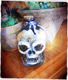 Apothecarium supplies : skull bone powder jar Handmade from cold porcelain clay.