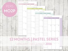PERSONAL 2016 Month on 2 Pages Calendar by OrganiseWithKatie Printable planner pages