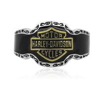 Harley-Davidson® .925 Silver and Enamel with Gold Plated B&S Tribal Ring HDR0255
