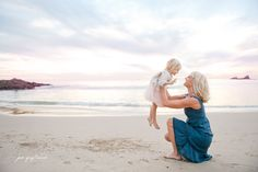 Mom and baby daughter beach ocean outdoors sunset photography