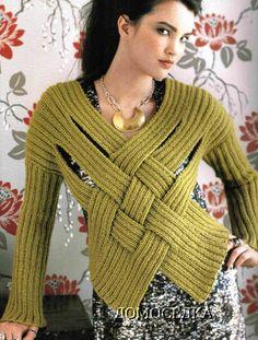 Patrones Crochet: Jersey Tejido Tiras Cruzadas