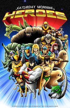 cartoons Saturday Morning Heroes by DCON on DeviantArt Classic Cartoon Characters, Classic Cartoons, Cartoon Tv, Marvel Characters, Old School Cartoons, 80 Cartoons, Saturday Morning Cartoons 80s, Desenhos Hanna Barbera, Tv Anime