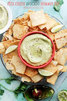 Feta Cheese and Avocado Hummus Dip: Chickpeas blended with feta cheese and…