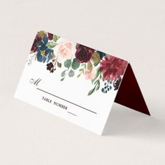#Burgundy Red Navy Floral Rustic Boho Place Card - #winter #wedding #gifts #winterwedding