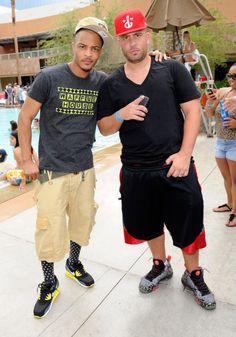 T.I, wearing Nike Air Max 90 Essential Sonic Yellow; DJ Drama wearing Nike Barkley Posite Max Area 72