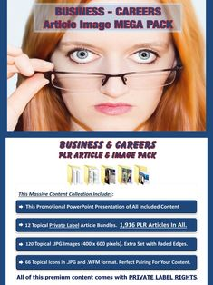 Business and Employment Article Image MEGA Pack  Done for you, value packed and affordable business and career article image MEGA Pack, jam-packed with premium private label article and high quality image collections on all topics relating to business and careers. All of it comes with our exclusive, profit-ready, viral PowerPoint presentations.  #business #career #careeroptions #onlinebusiness #smallbusiness #businesstips