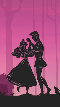 Sleeping beauty Aurora and Phillip dancing silhouette wallpaper