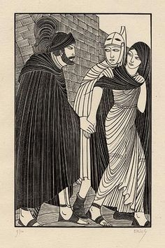 Eric Gill, 1927  The Parting  Wood Engraving  An Illustration of Chaucer's Troilus and Criseyde