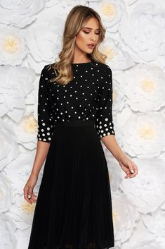 StarShinerS black elegant with easy cut women`s blouse thin fabric dots print, easy cut, 3/4 sleeves, nonelastic fabric, thin fabric