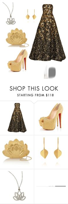 """""""Homecoming"""" by breanna-rose-white-bear ❤ liked on Polyvore featuring Oscar de la Renta, Christian Louboutin, Charlotte Olympia, Dinny Hall, KC Designs and Astley Clarke"""
