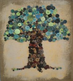 Button tree made for silent auction Button Tree Art, Button Art, Silent Auction, Auction Items, Craft Gifts, Art Lessons, Hand Sewing, Crafts For Kids, Projects