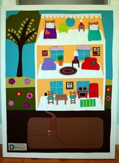 beautiful gigantic felt board (checkout girl)- love this idea for eva's playroom. apartment therapy has a post on several ideas for large felt boards.