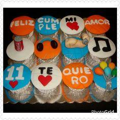 Ponquesitos/cupcakes decorados con fondant, diseño personalizado.