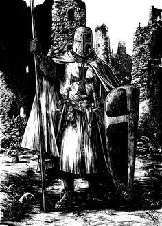 Knight Templar in all his glory. Dark Ages page 3 N Crusader Knight, Knight Armor, Templar Knight Tattoo, Knights Templar History, Christian Warrior, Armadura Medieval, Landsknecht, Chivalry, Medieval Art