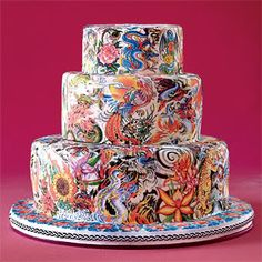images of israeli wedding cakes | ... : to decorate a cake with a collage of edible tattoos. Fondant cake