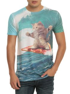 Pizza Surfing Cat T-Shirt. 100% Cotton. Wash Cold; Dry Low. Imported. Listed In Men'S Sizes.