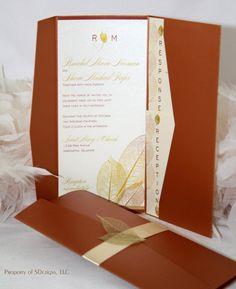 Golden Fall / Autumn Leaf Wedding Invitation