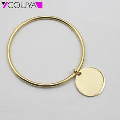 Hot Sale  Gold Plated Stainless Steel Simple Round Plain Tag Charm Bangle Bracelet for Women Fashion Jewelry Wholesale