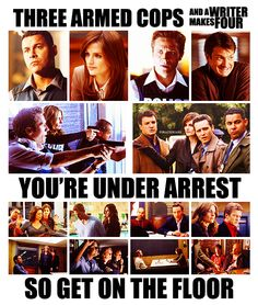 three armed cops and a writer makes four. You're under arrest so get on the floor. Castle 2009, Castle Abc, Castle Series, Castle Tv Shows, Best Tv Shows, Favorite Tv Shows, Movies And Tv Shows, Watch Castle, Castle Quotes