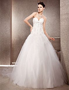 A-line Strapless Chapel Train Organza And Lace Wedding Dress – USD $ 247.99