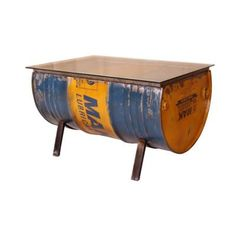 Different Coffee Tables Reclaimed Industrial Steel Oil Drum innovation Designs Made Recycled Living Room Furniture Drum Coffee Table, Drum Table, At Home Furniture Store, Cool Furniture, Drums Art, Oil Drum, Store Design, Innovation Design, Bunt
