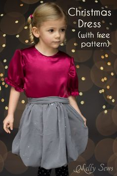 Sew a Christmas dress for girls with a free pattern - Melly Sews