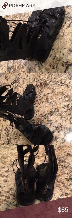 TopShop Black Gladiator Sandals Black leather Gladiator sandals , gently worn Topshop Shoes Sandals
