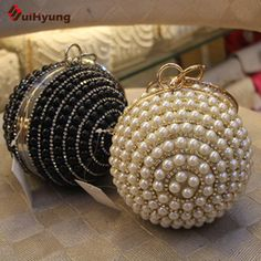 2016 New Women's Ball ClutchTote Exquisite Pearl Diamond Stitching Evening Bag Wedding Party Bridal Handbag Chain Shoulder Bag
