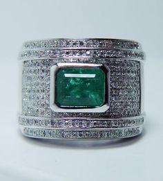 Vintage Man 234-Diamond Emerald 14K White Gold Ring HEAVY 22gr Estate from luvmydiamonds on Ruby Lane