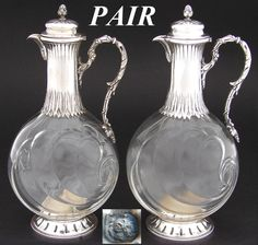 "Antique French Sterling Silver & Thick Glass 7 5/8"" Claret Jug PAIR, Carafon"