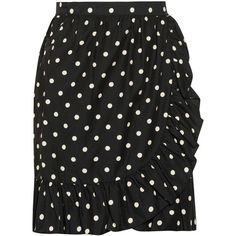Moschino Cheap and Chic Polka-dot crepe wrap skirt ($50) ❤ liked on Polyvore