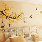 white cherry blossom Vinyl wall decals tree office wedding wall murals Nursery wall sticker - Huge Magnolia cuma S I Z E *whole size on the
