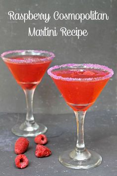 Raspberry Cosmopolitan Martini Recipe - Kicking It With Kelly Looking for a refreshing and easy to make cocktail for your next summer get together? Try this raspberry cosmopolitan martini recipe. Cosmopolitan Martini Recipe, Martini Recipes, Alcohol Drink Recipes, Cocktail Recipes, Easy To Make Cocktails, Fancy Drinks, Cocktail Drinks, Alcoholic Drinks, Beverages