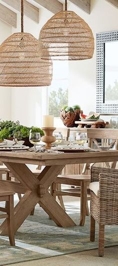 Two Lovely big wicker lamp shades like this over the dining table would beautiful Rustic Pendant Lighting Kitchen, Wicker Pendant Light, Pendant Lights, Wicker Lamp Shade, Basket Lighting, Interior Design Living Room, Interior Inspiration, Design Inspiration, Room Decor