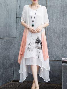 #AdoreWe #StyleWe Dresses - Yifeiduona White Floral Casual Printed Two Piece Midi Dress - AdoreWe.net