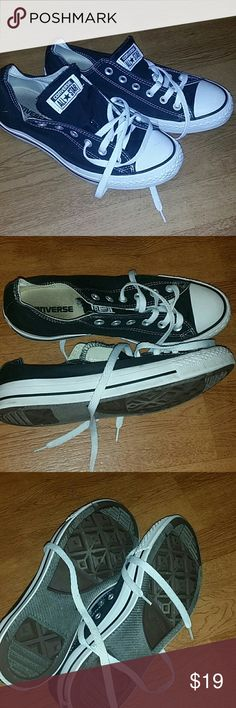 Converse black and white tennis shoes Needs some TLC Lots of life left  Size men 7 Women 9 Converse Shoes Sneakers