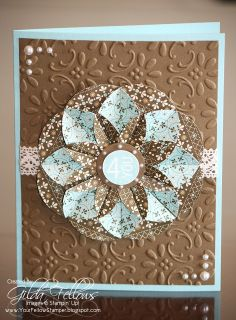 handmade card from Your Fellow Stamper ... gorgeous example of a dahlia fold flower ... luv the aqua and milk chocolate colores together ... pretty embossing folder flourishes on the background layer... gorgeou! ... Stampin' Up!